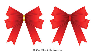 red ribbon tied in a bow, Isolated on white