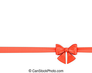 Red Ribbon tied up in a bow on a white background.