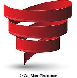 Red ribbon twist. Vetor illustration.