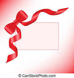Red ribbon with a card