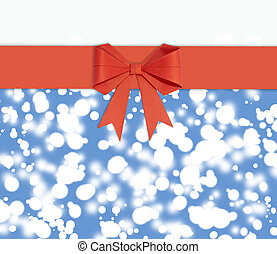 Red ribbon with bow made of paper on a blue background