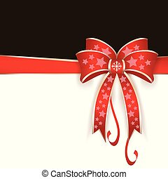 Red ribbon with bow on a black background. Vector, illustration eps10