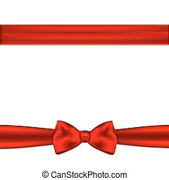 Red ribbon with bow on a white background.