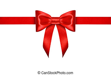 red ribbon with bow on isolated white background