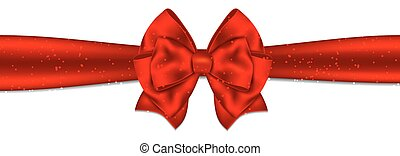 Red ribbon with bow on white background.