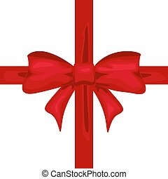 Red ribbon with bow. Tape decor for present design
