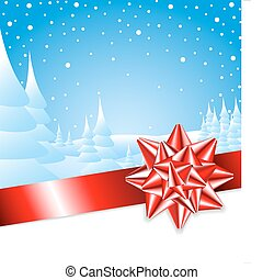 Red ribbon with bow with Christmas landscape