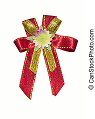Red ribbon with flower on white