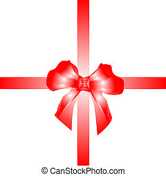 red ribbon with gift bow isolated