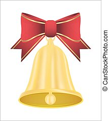 red ribbon with golden bell