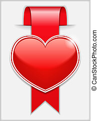Red ribbon with heart