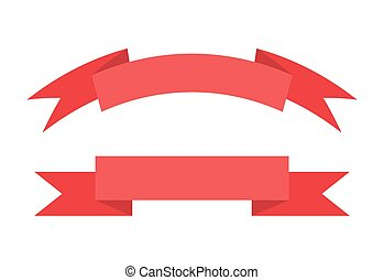 Red Ribbon with Place for Text Vector Illustration