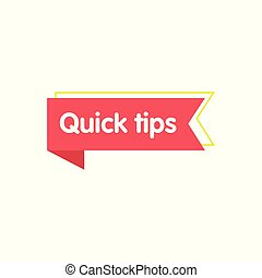 Red ribbon with Quick tips text for social media vector illustration isolated.