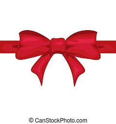 Red ribbon with red bow. Decor for present design vector