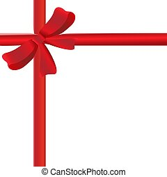 red ribbon with ribbon on white background vector illustration