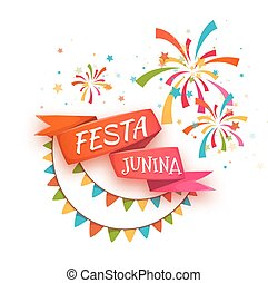 Red ribbon with title for Brazil june party. Vector ...