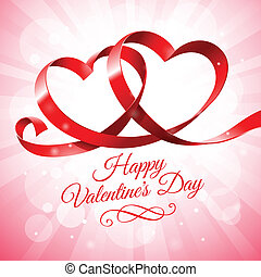 Red ribbon with two hearts