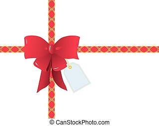 Red Ribbons and Bow for Gift Wrapping - Rectangular Box