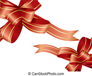 red ribbons - christmas design elements - vector...