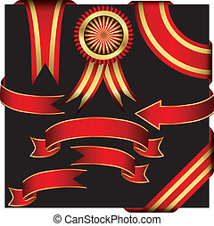 Red ribbons set, vector