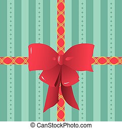 Red Ribbons Tied on Striped Gift Wrapping Paper