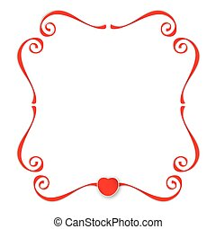 Red ribbons with heart background
