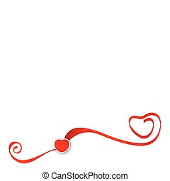 Red ribbons with heart vector