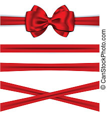 Red ribbons with luxurious bow for decorating gifts and...