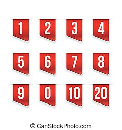 Red ribbons with number set