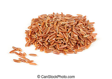 Red Rice Isolated on White Background