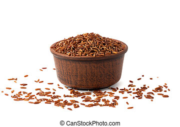 red rice on white background isoleted