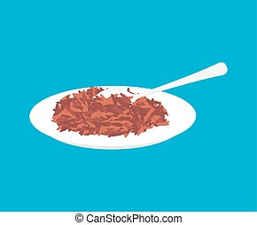 Red rice Porridge in plate and spoon isolated. Healthy food for breakfast. Vector illustration