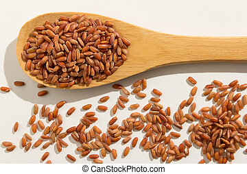 Red Rice seed. Healthy grains on a wooden spoon. White background.
