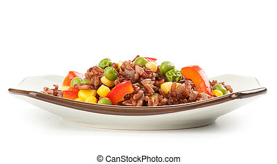red rice with vegetables
