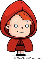 A happy cartoon girl in a red riding hood.