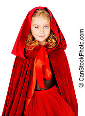 red riding hood - Beautiful little girl in a red raincoat ...