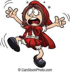 Red Riding Hood - Scared little Red Riding Hood. Vector clip...