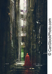 Red Riding Hood in futuristic alley,science fiction...