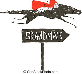 Red Riding Hood on Black Wolf Running to her Grandma -...