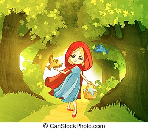 Red Riding Hood on the forest path