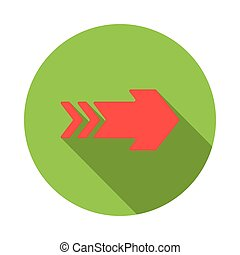 Red right arrow icon, flat style