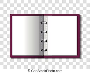 Red ring binder folder on checkered background. Vector...