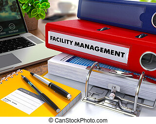 Red Ring Binder with Inscription Facility Management. - Red...