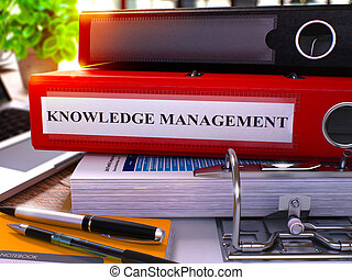 Red Ring Binder with Inscription Knowledge Management. 3D.