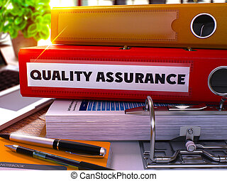 Red Ring Binder with Inscription Quality Assurance. 3D.