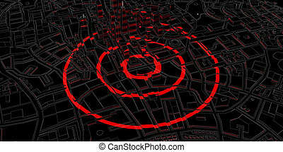 red rings of epicenter in the black city. 3d rendering