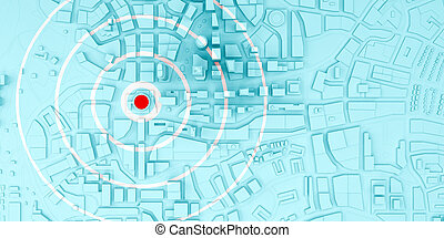 red rings of epicenter in the low poly city top view. 3d ...