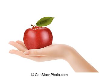 Red ripe apple in a hand. Concept of diet. Vector.