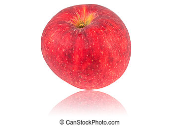 Red ripe apple on white background / blank space for text.