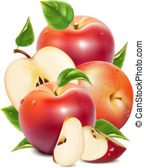 Red ripe apples and apples slices with green leaves and ...